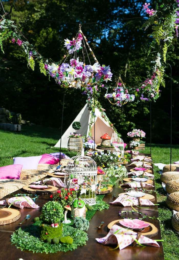Fairy Garden Guest Table from an Enchanted Fairy Garden Birthday Party on Kara's Party Ideas | KarasPartyIdeas.com (10)