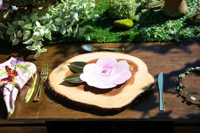 Tree Stump & Flower Table Setting from an Enchanted Fairy Garden Birthday Party on Kara's Party Ideas | KarasPartyIdeas.com (9)