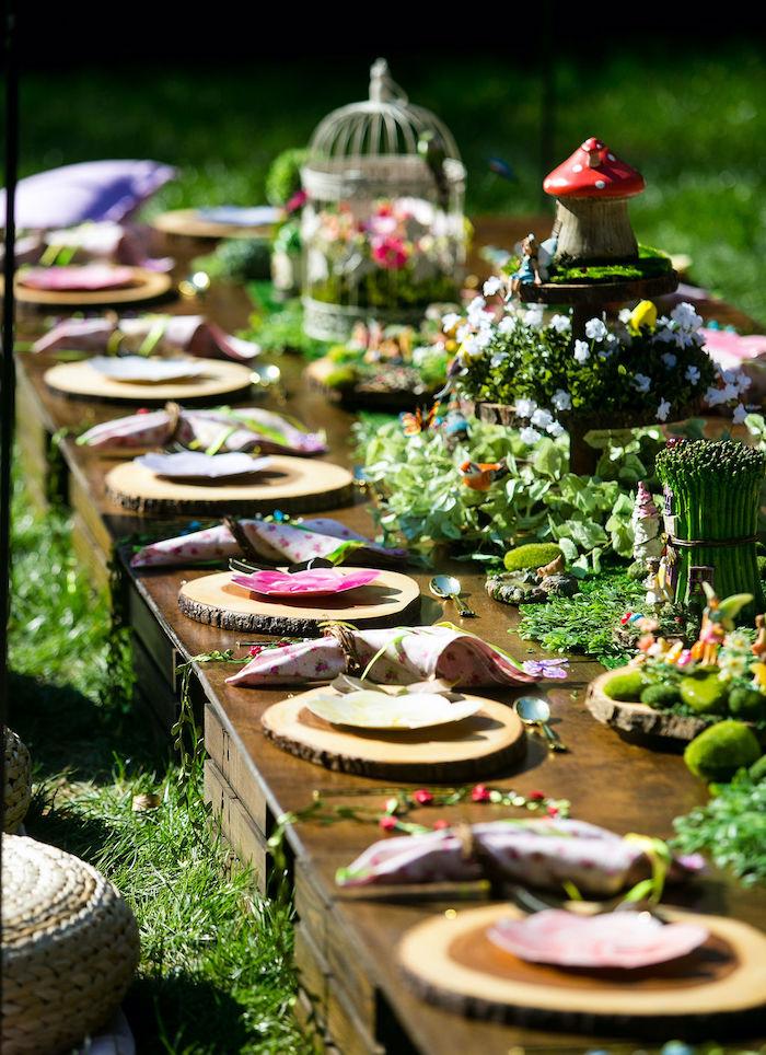 Fairy Garden Guest Table from an Enchanted Fairy Garden Birthday Party on Kara's Party Ideas | KarasPartyIdeas.com (8)