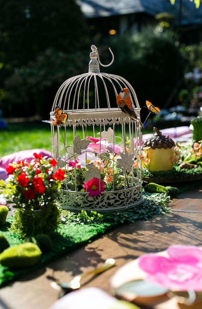 Bird Cage Centerpiece from an Enchanted Fairy Garden Birthday Party on Kara's Party Ideas | KarasPartyIdeas.com (7)
