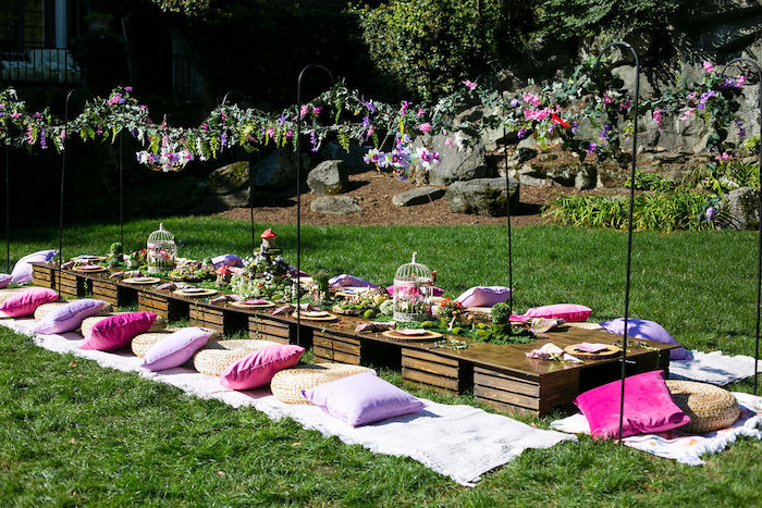 Fairy Garden Guest Table from an Enchanted Fairy Garden Birthday Party on Kara's Party Ideas | KarasPartyIdeas.com (5)