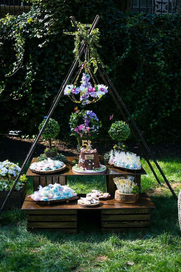 Fairy Garden Dessert Table from an Enchanted Fairy Garden Birthday Party on Kara's Party Ideas | KarasPartyIdeas.com (4)
