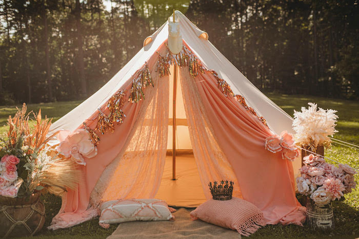 Unicorn Tent Lounge from a Glam Boho Unicorn Party on Kara's Party Ideas | KarasPartyIdeas.com (6)