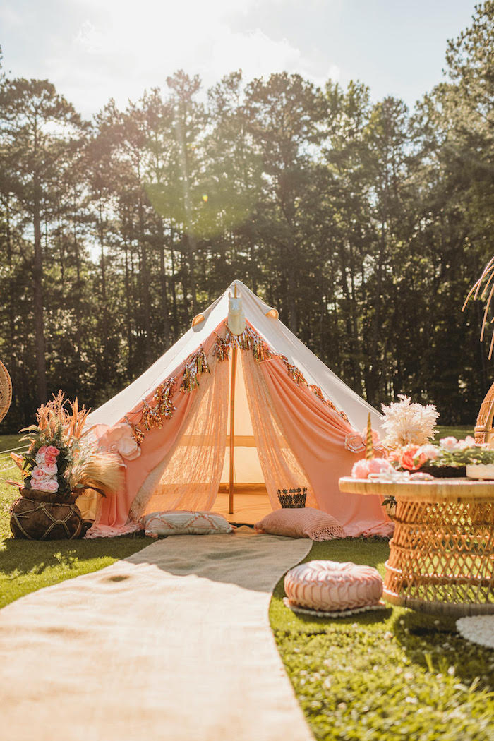 Tent Lounge from a Glam Boho Unicorn Party on Kara's Party Ideas | KarasPartyIdeas.com (5)