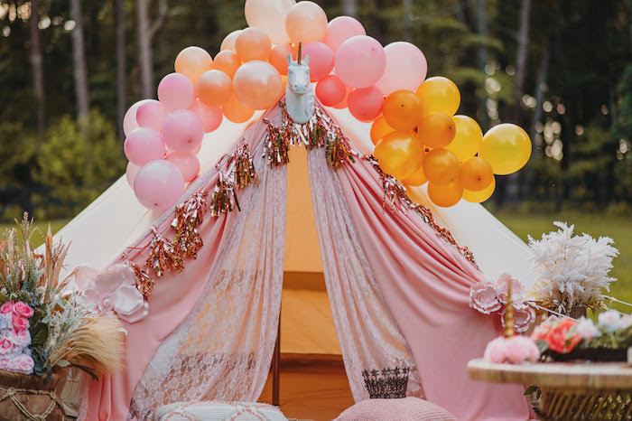 Unicorn Tent from a Glam Boho Unicorn Party on Kara's Party Ideas | KarasPartyIdeas.com (11)