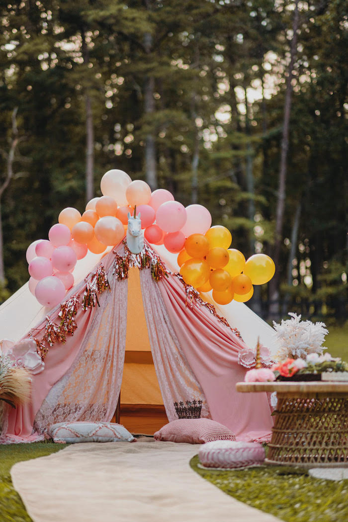 Unicorn Tent from a Glam Boho Unicorn Party on Kara's Party Ideas | KarasPartyIdeas.com (10)