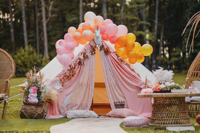 Unicorn Tent from a Glam Boho Unicorn Party on Kara's Party Ideas | KarasPartyIdeas.com (9)