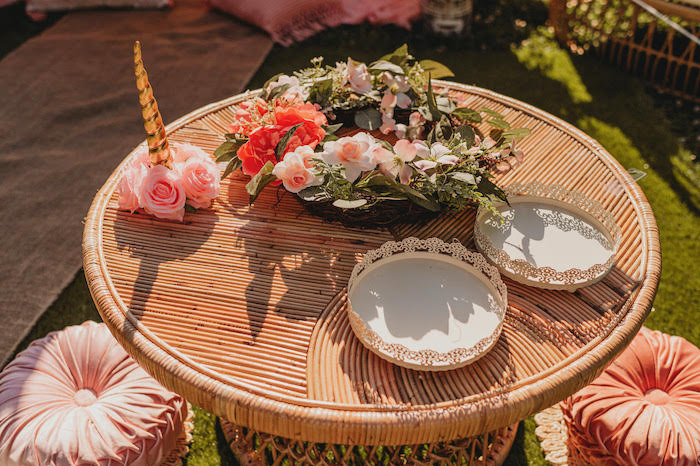 Bamboo Party Table from a Glam Boho Unicorn Party on Kara's Party Ideas | KarasPartyIdeas.com (7)