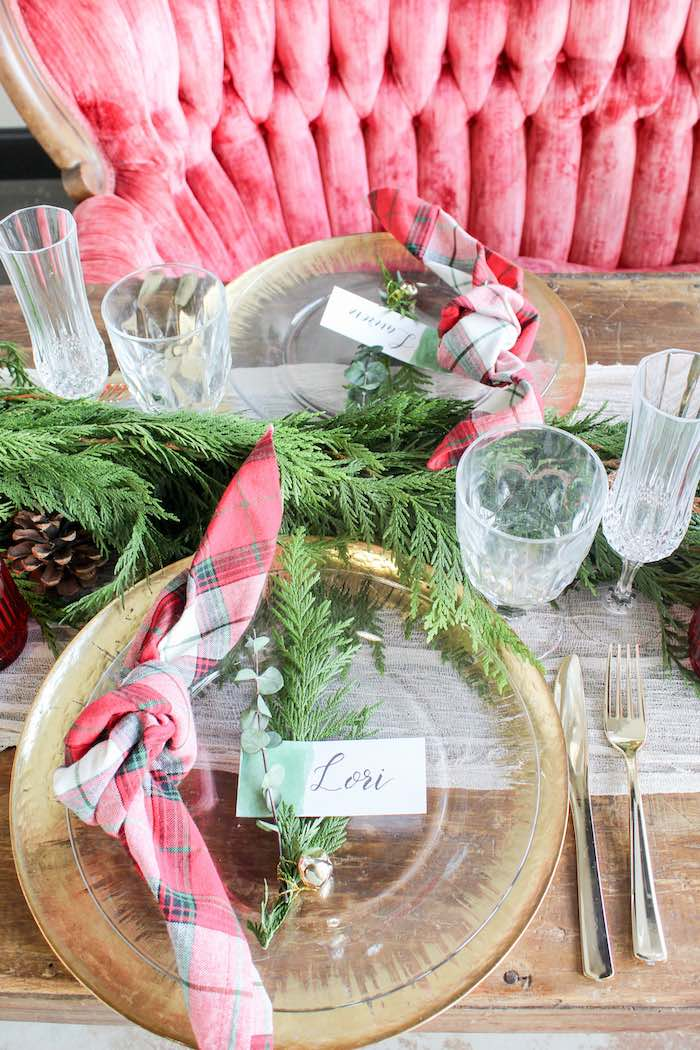Christmas-inspired Luxe Table Setting from a Luxe Christmas Dinner on Kara's Party Ideas | KarasPartyIdeas.com (11)