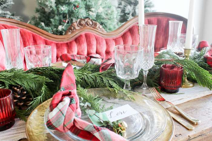 Christmas-inspired Luxe Table Setting from a Luxe Christmas Dinner on Kara's Party Ideas | KarasPartyIdeas.com (10)