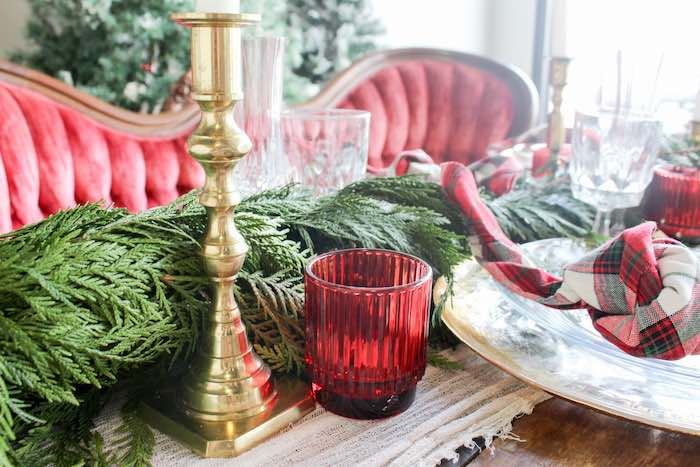 Gold Candlestick + Red Votive from a Luxe Christmas Dinner on Kara's Party Ideas | KarasPartyIdeas.com (9)