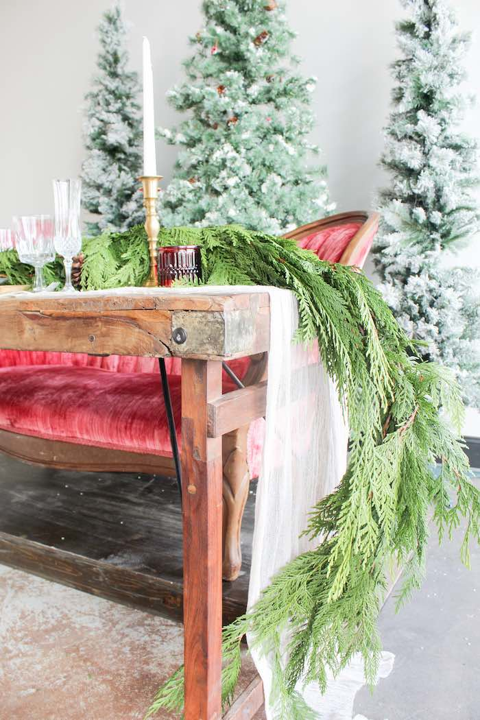 Fresh Pine Garland from a Luxe Christmas Dinner on Kara's Party Ideas | KarasPartyIdeas.com (5)