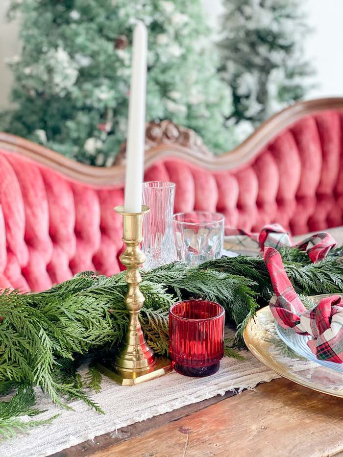 Pine Greenery + Decor from a Luxe Christmas Dinner on Kara's Party Ideas | KarasPartyIdeas.com (18)