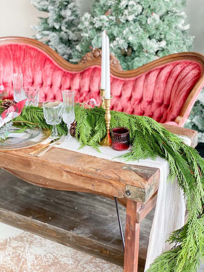 Rustic Wood Table lined with Pine Garland from a Luxe Christmas Dinner on Kara's Party Ideas | KarasPartyIdeas.com (14)