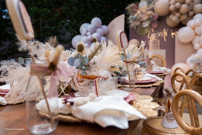 Boho Guest Table from a Muted Boho Princess Party on Kara's Party Ideas | KarasPartyIdeas.com (27)