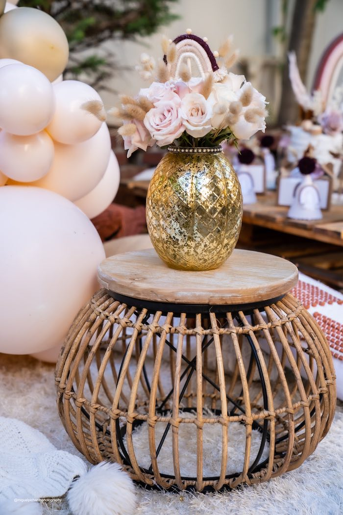 Boho End Table from a Muted Boho Princess Party on Kara's Party Ideas | KarasPartyIdeas.com (36)