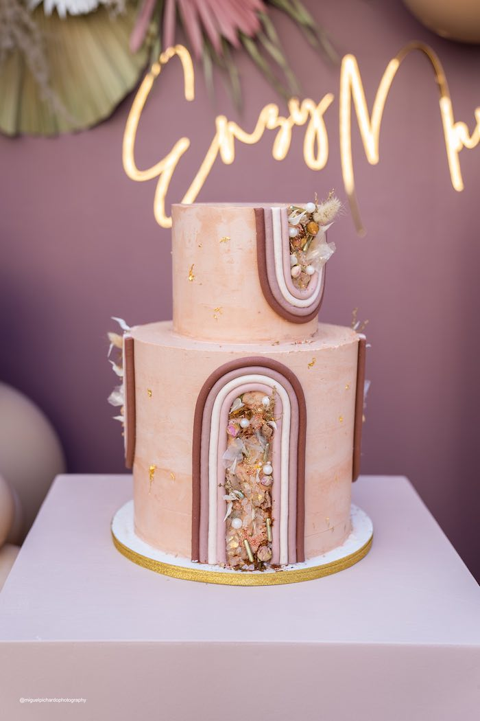 Boho Cake from a Muted Boho Princess Party on Kara's Party Ideas | KarasPartyIdeas.com (17)