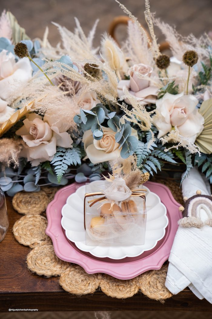 Boho Table Setting from a Muted Boho Princess Party on Kara's Party Ideas | KarasPartyIdeas.com (34)