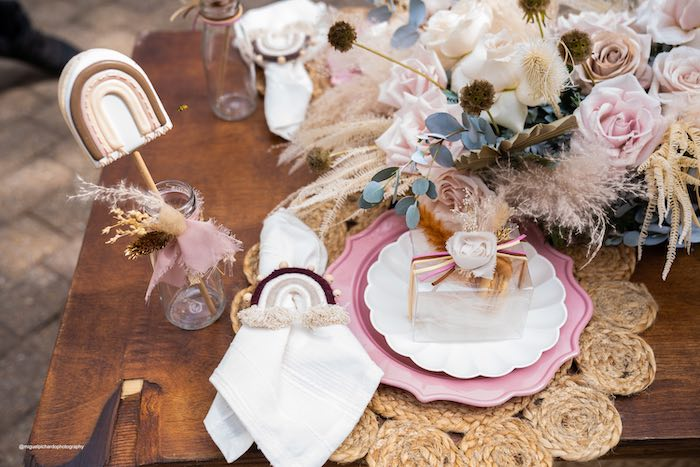 Rainbow Boho Table Setting from a Muted Boho Princess Party on Kara's Party Ideas | KarasPartyIdeas.com (32)