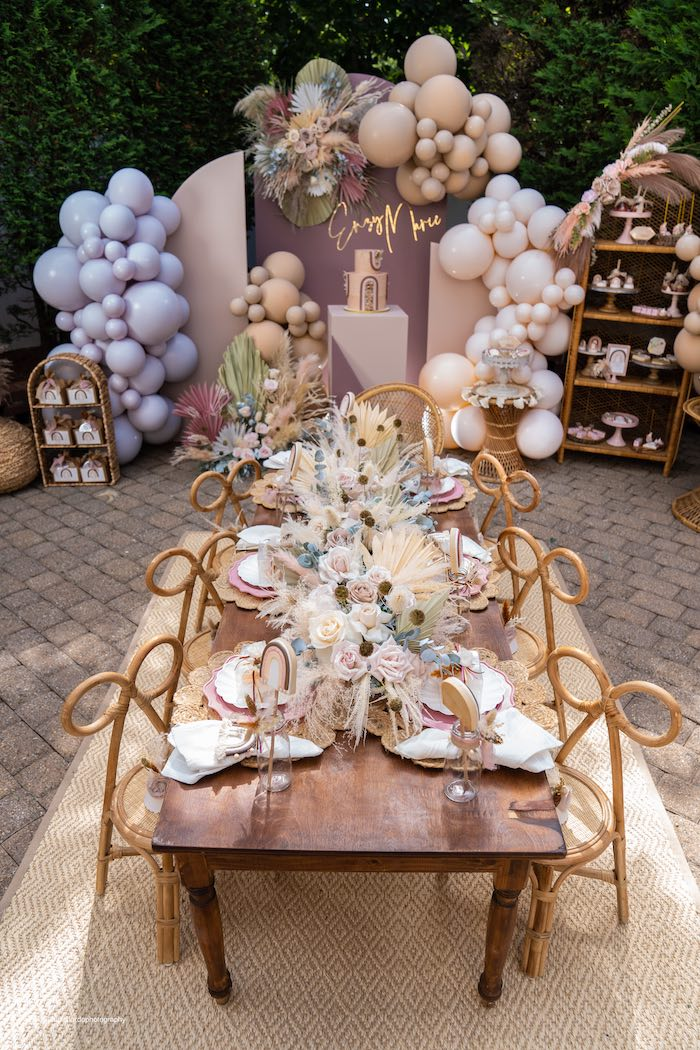 Boho Guest Table from a Muted Boho Princess Party on Kara's Party Ideas | KarasPartyIdeas.com (28)