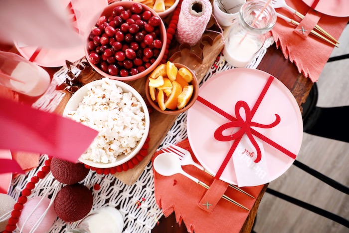 Present-inspired Table Setting with Tree Napkin from a Naughty & Nice Christmas Inspired Birthday Party on Kara's Party Ideas | KarasPartyIdeas.com (39)