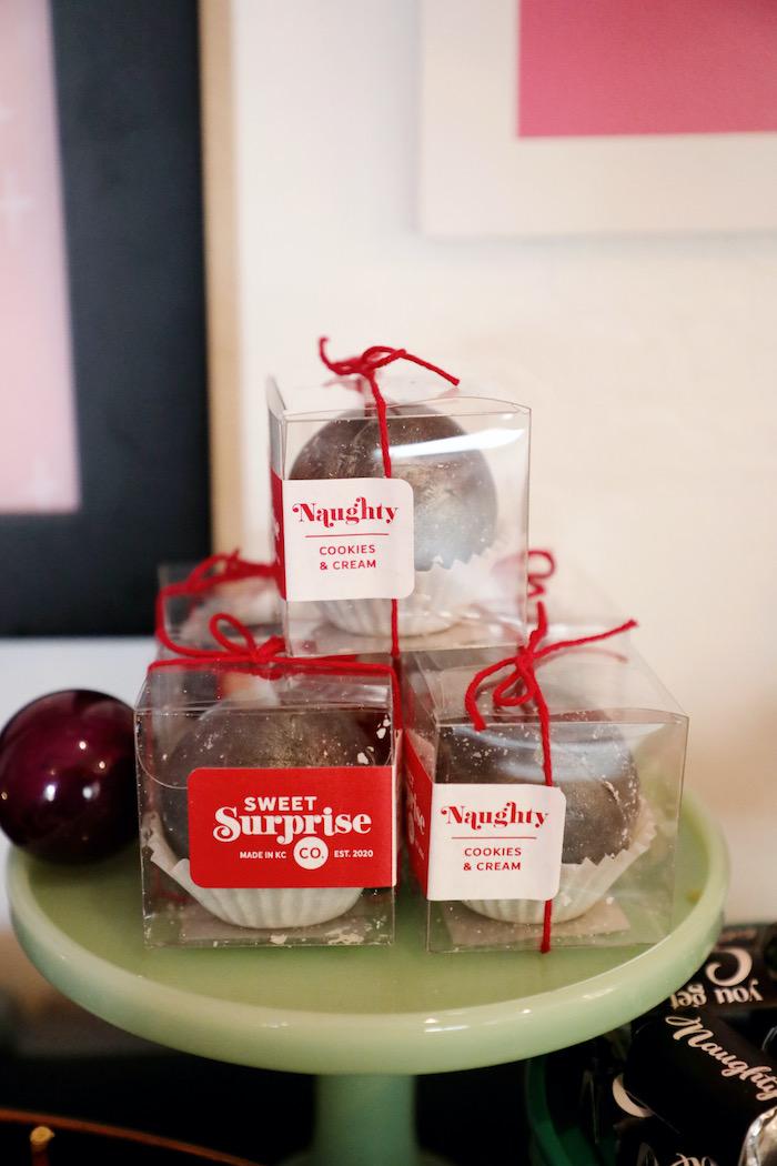 Naughty List Cookies & Cream Hot Cocoa Bombs from a Naughty & Nice Christmas Inspired Birthday Party on Kara's Party Ideas | KarasPartyIdeas.com (32)