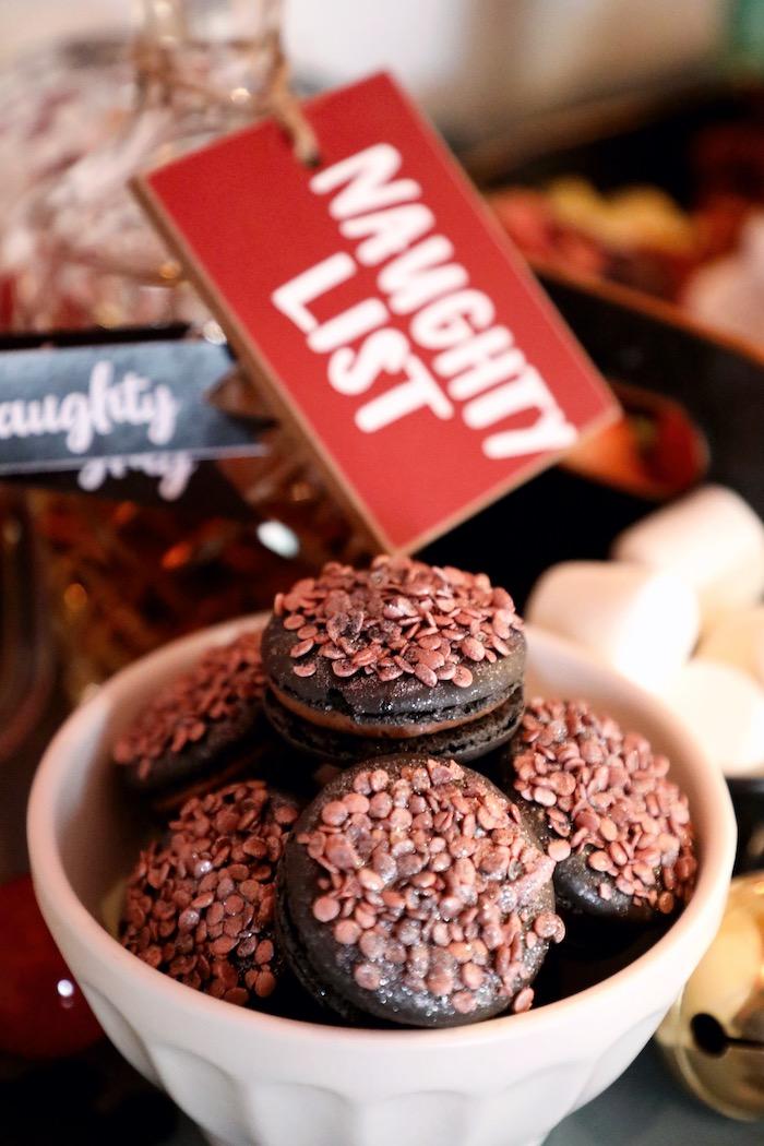 Naughty List Macarons from a Naughty & Nice Christmas Inspired Birthday Party on Kara's Party Ideas | KarasPartyIdeas.com (31)