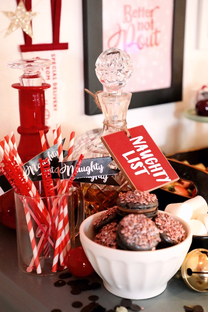 Naughty Stir Sticks + Straws from a Naughty & Nice Christmas Inspired Birthday Party on Kara's Party Ideas | KarasPartyIdeas.com (30)