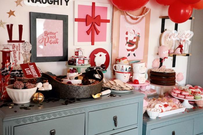 Naughty & Nice List Themed Dessert Tables from a Naughty & Nice Christmas Inspired Birthday Party on Kara's Party Ideas | KarasPartyIdeas.com (26)