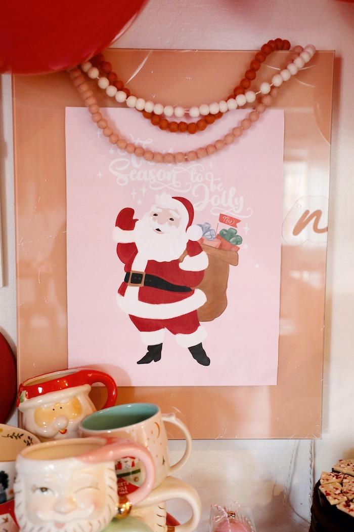 Santa Print + Backdrop from a Naughty & Nice Christmas Inspired Birthday Party on Kara's Party Ideas | KarasPartyIdeas.com (25)