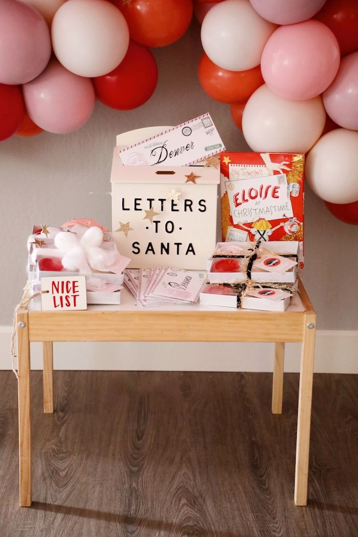 Letters to Santa Favor Table from a Naughty & Nice Christmas Inspired Birthday Party on Kara's Party Ideas | KarasPartyIdeas.com (15)