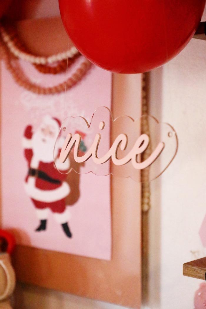 Acrylic Nice Sign from a Naughty & Nice Christmas Inspired Birthday Party on Kara's Party Ideas | KarasPartyIdeas.com (47)