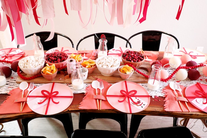 Christmas Themed Guest Table from a Naughty & Nice Christmas Inspired Birthday Party on Kara's Party Ideas | KarasPartyIdeas.com (43)