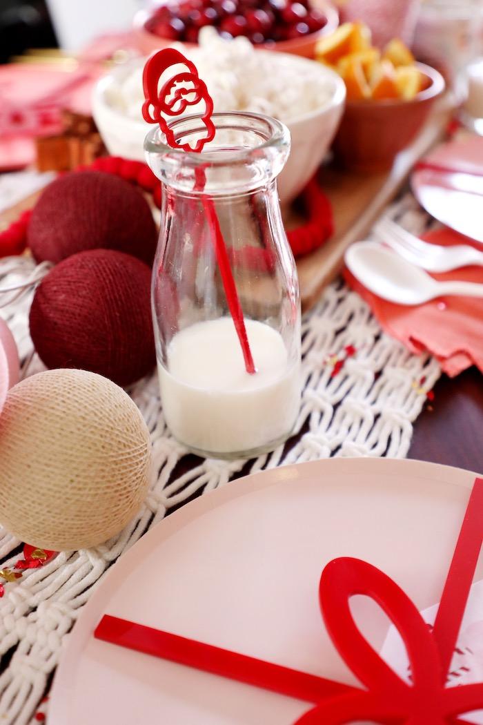 Milk Bottle with Santa Stir Stick from a Naughty & Nice Christmas Inspired Birthday Party on Kara's Party Ideas | KarasPartyIdeas.com (42)