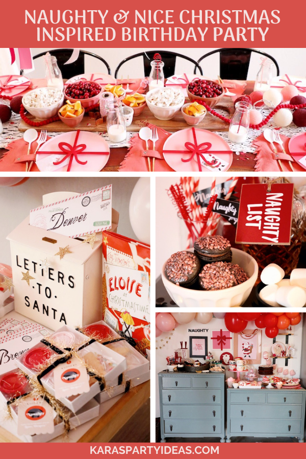 Naughty & Nice Christmas Inspired Birthday Party via Kara's Party Ideas - KarasPartyIdeas.com