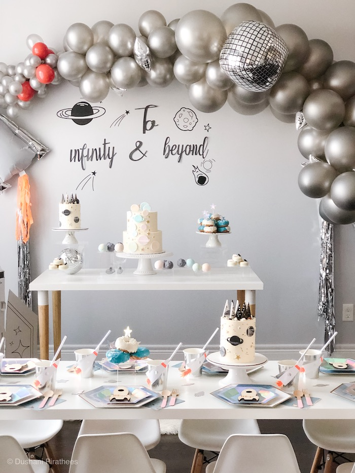 """Space Themed Party Tables from a Pastel Iridescent """"To Infinity & Beyond"""" Space Party on Kara's Party Ideas 