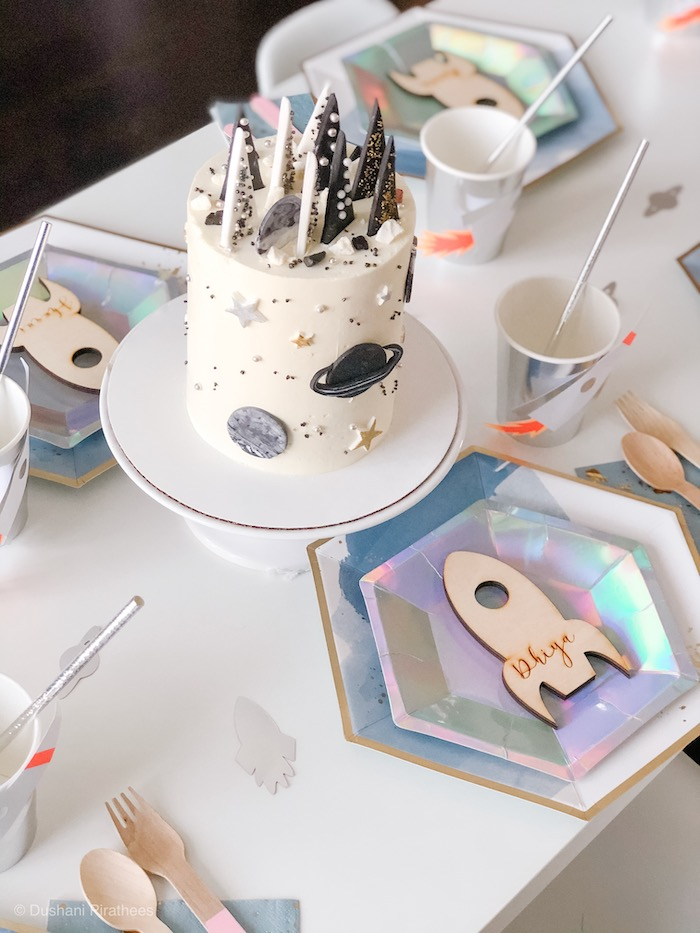 """Space Themed Party Table from a Pastel Iridescent """"To Infinity & Beyond"""" Space Party on Kara's Party Ideas 
