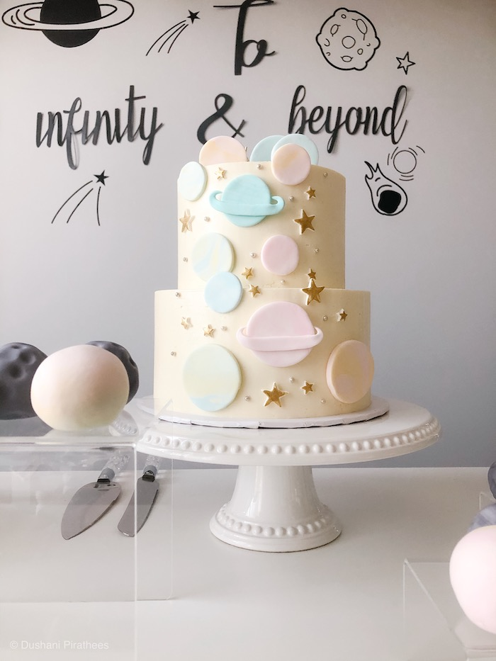 """Space Cake from a Pastel Iridescent """"To Infinity & Beyond"""" Space Party on Kara's Party Ideas 