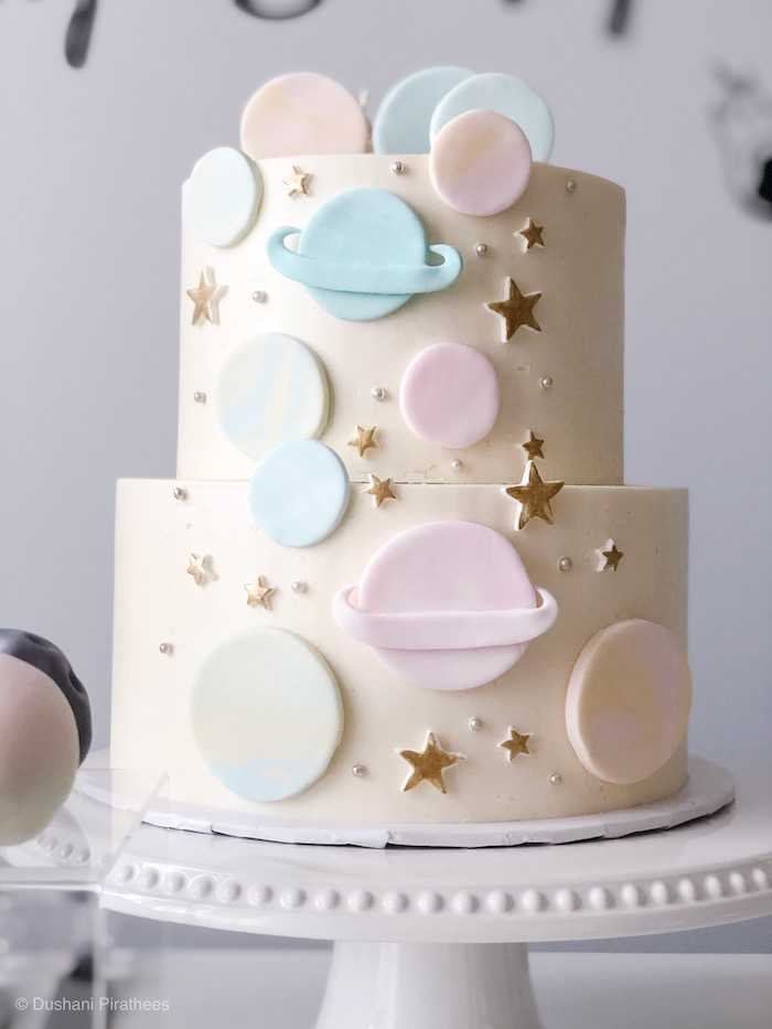 """Pastel Space Cake from a Pastel Iridescent """"To Infinity & Beyond"""" Space Party on Kara's Party Ideas 