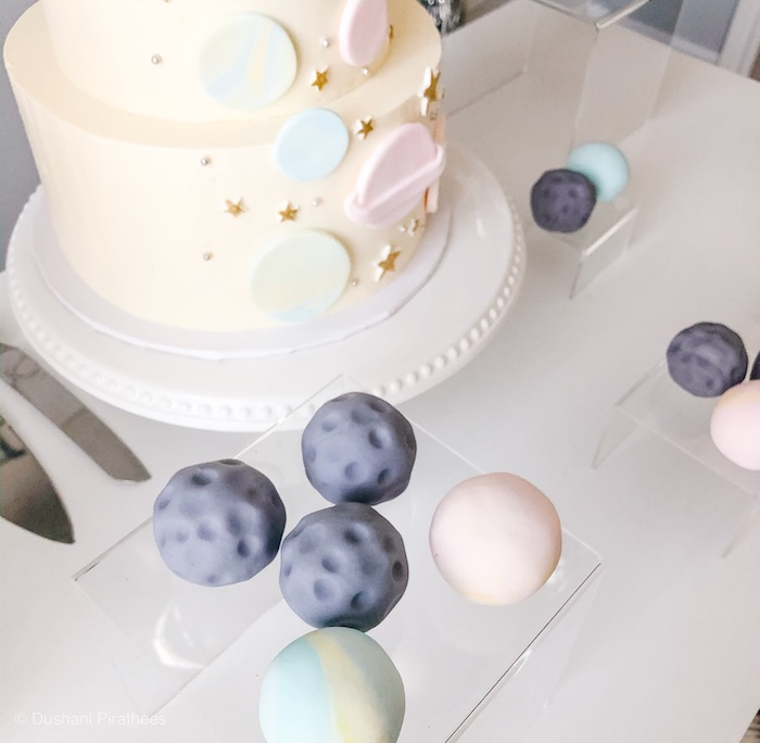 """Planet Cake Pops from a Pastel Iridescent """"To Infinity & Beyond"""" Space Party on Kara's Party Ideas 