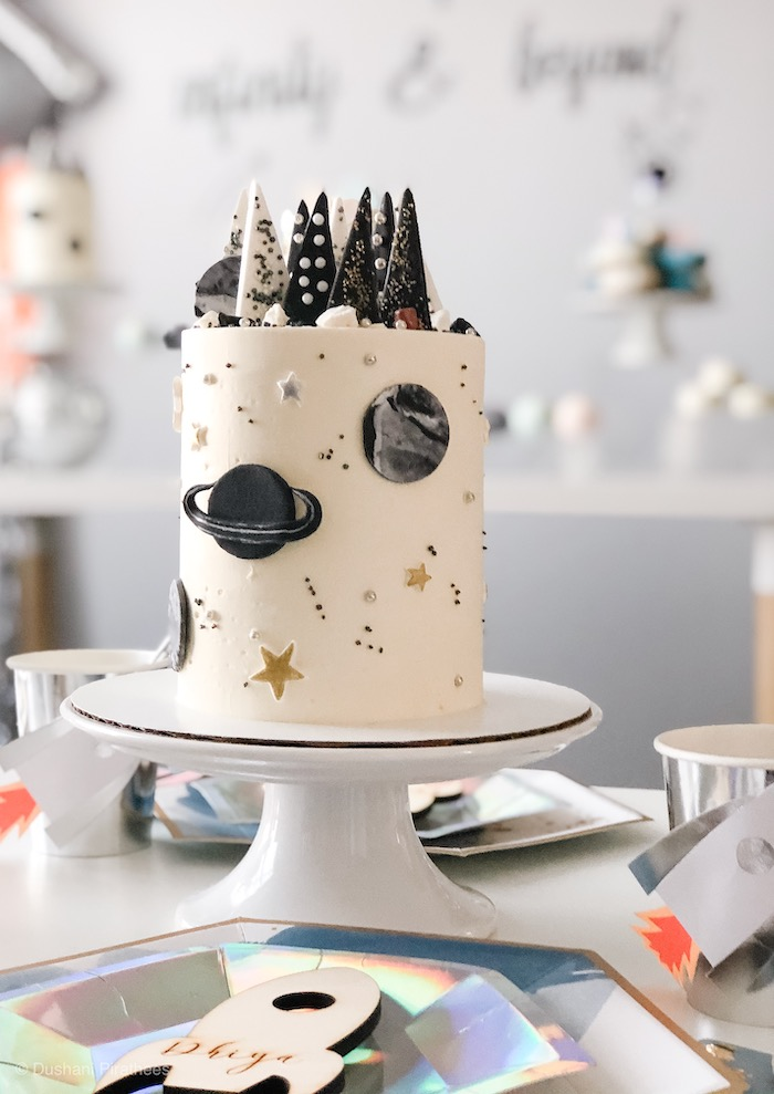 """Space Themed Cake from a Pastel Iridescent """"To Infinity & Beyond"""" Space Party on Kara's Party Ideas 