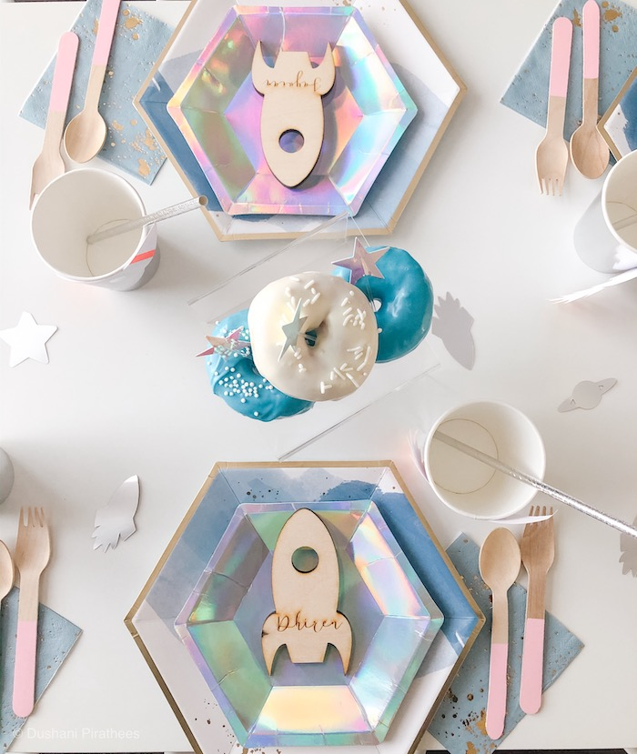 """Space Themed Table Setting from a Pastel Iridescent """"To Infinity & Beyond"""" Space Party on Kara's Party Ideas 