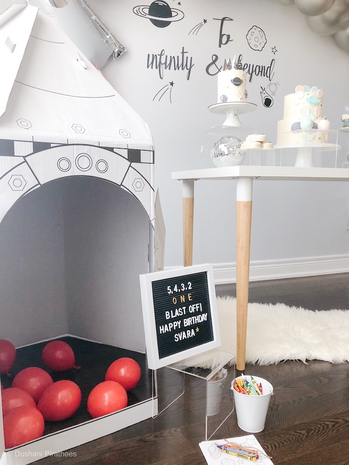 """Cardboard Rocket Ball Pit from a Pastel Iridescent """"To Infinity & Beyond"""" Space Party on Kara's Party Ideas 
