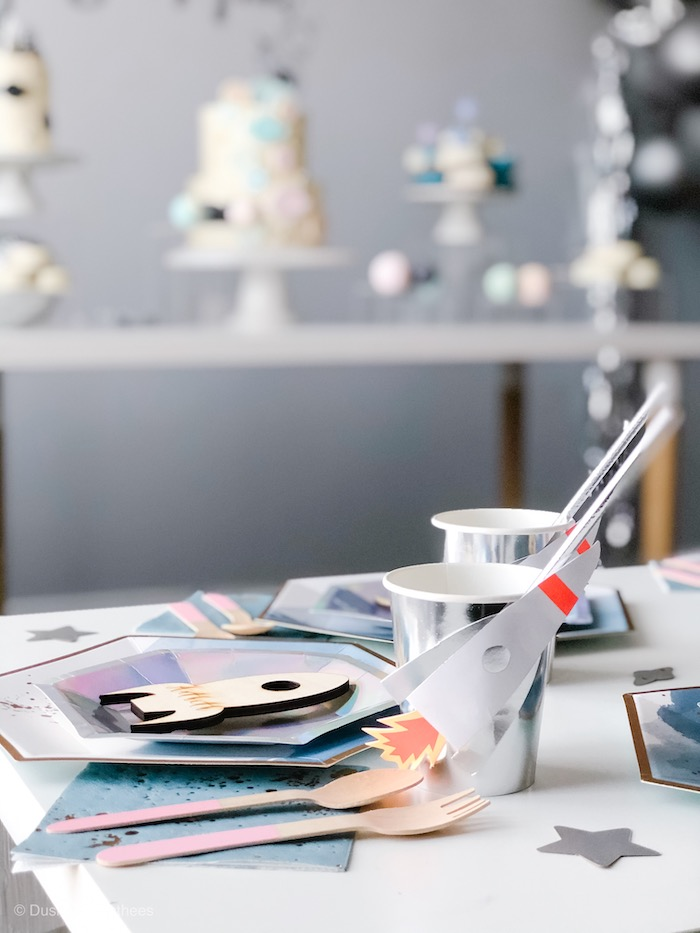 """Rocket Cup + Space Themed Table Setting from a Pastel Iridescent """"To Infinity & Beyond"""" Space Party on Kara's Party Ideas 