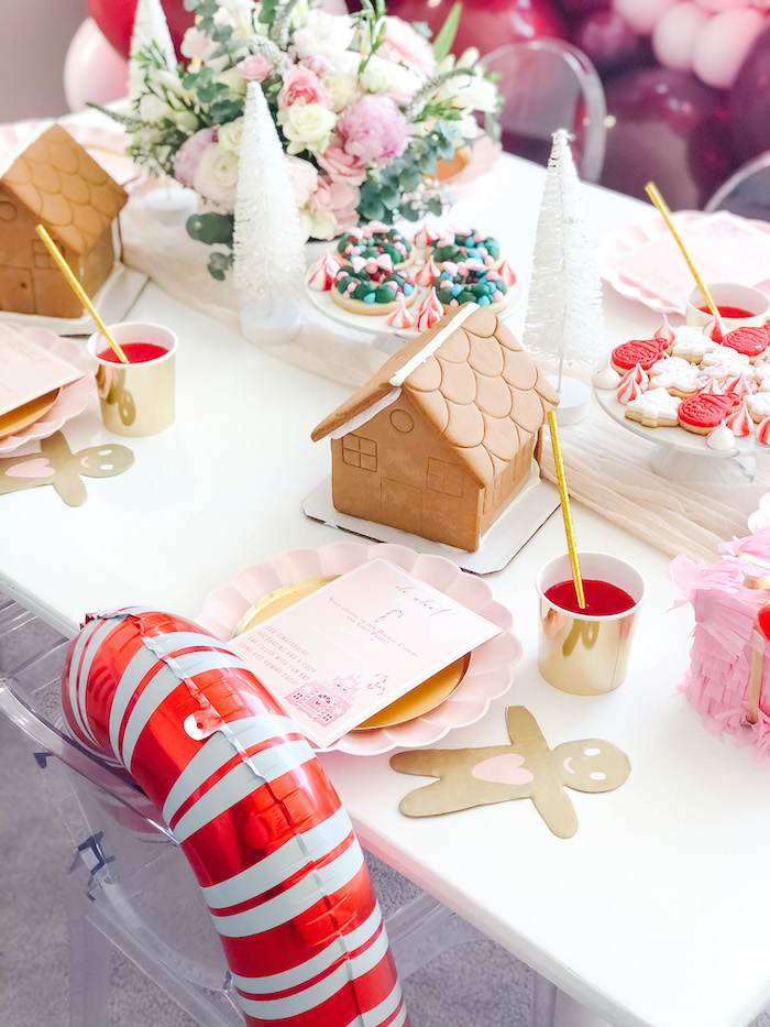Pink Glam Gingerbread House Table Setting from a Pink Peppermint Christmas Party on Kara's Party Ideas | KarasPartyIdeas.com (8)