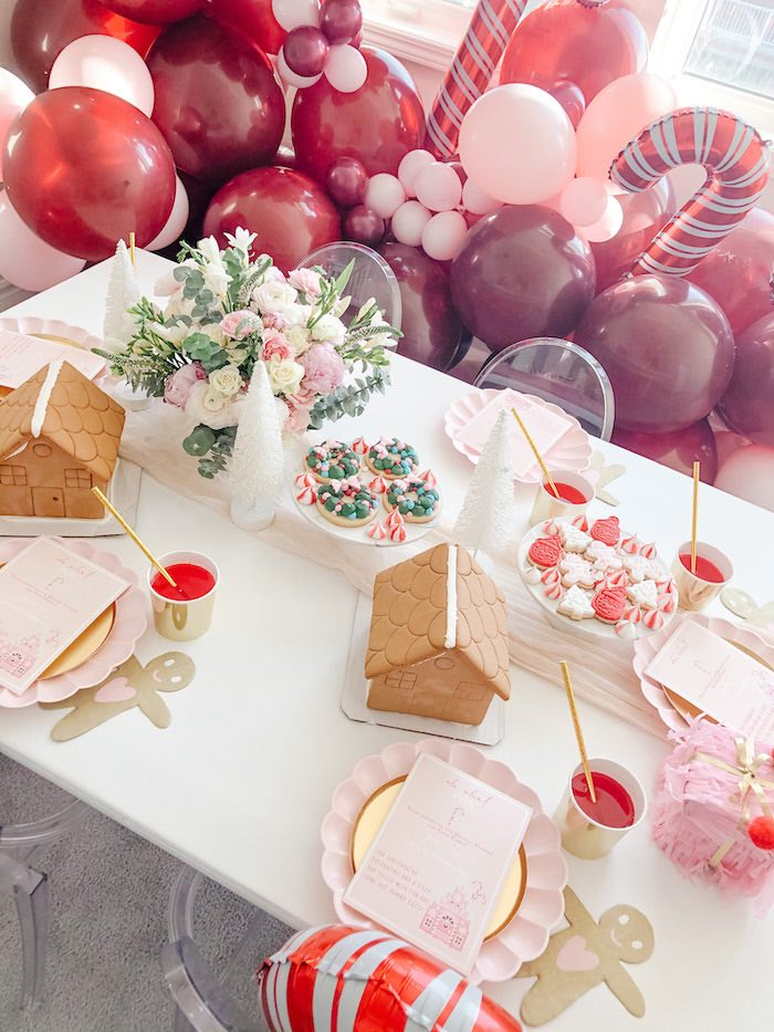 Holiday Party Table from a Pink Peppermint Christmas Party on Kara's Party Ideas | KarasPartyIdeas.com (5)
