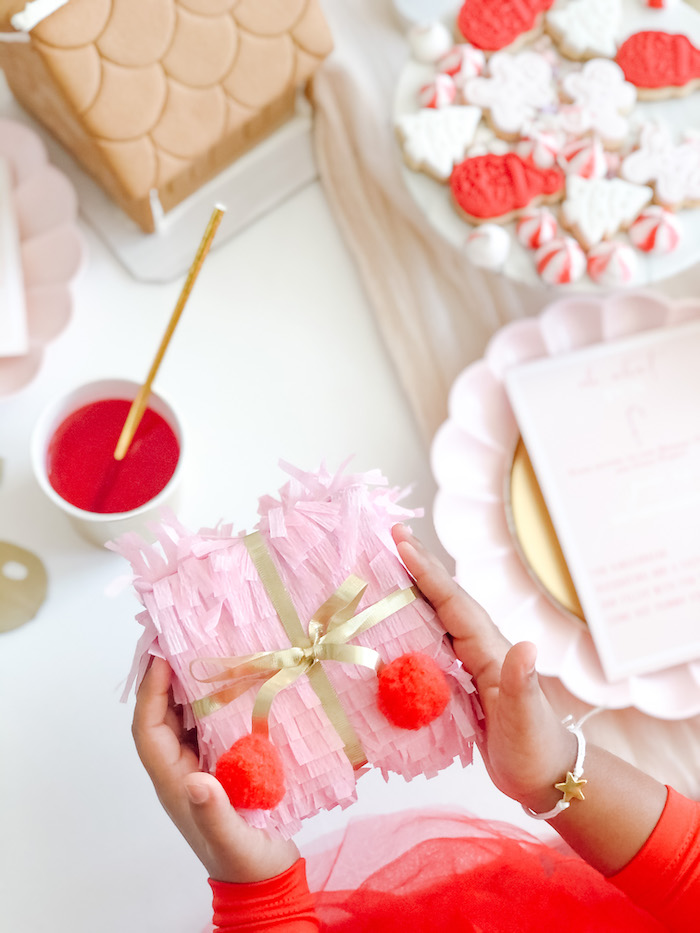 Fringe Gift Box from a Pink Peppermint Christmas Party on Kara's Party Ideas | KarasPartyIdeas.com (4)
