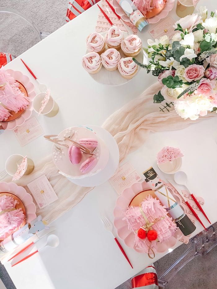 Girly Holiday Party Tabletop from a Pink Peppermint Christmas Party on Kara's Party Ideas | KarasPartyIdeas.com (19)