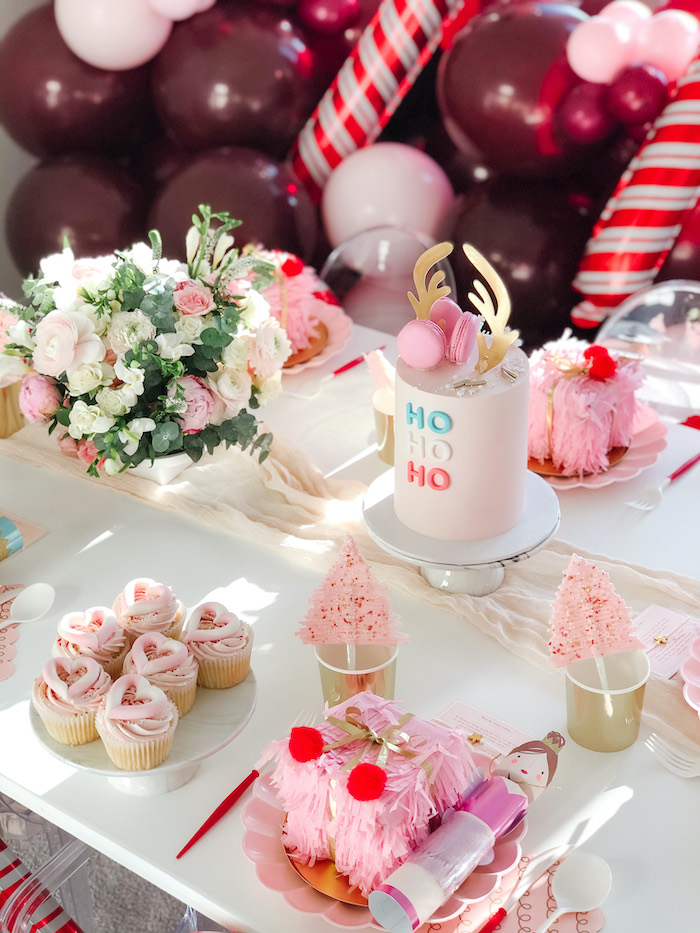 Ho Ho Ho Party Table from a Pink Peppermint Christmas Party on Kara's Party Ideas | KarasPartyIdeas.com (18)