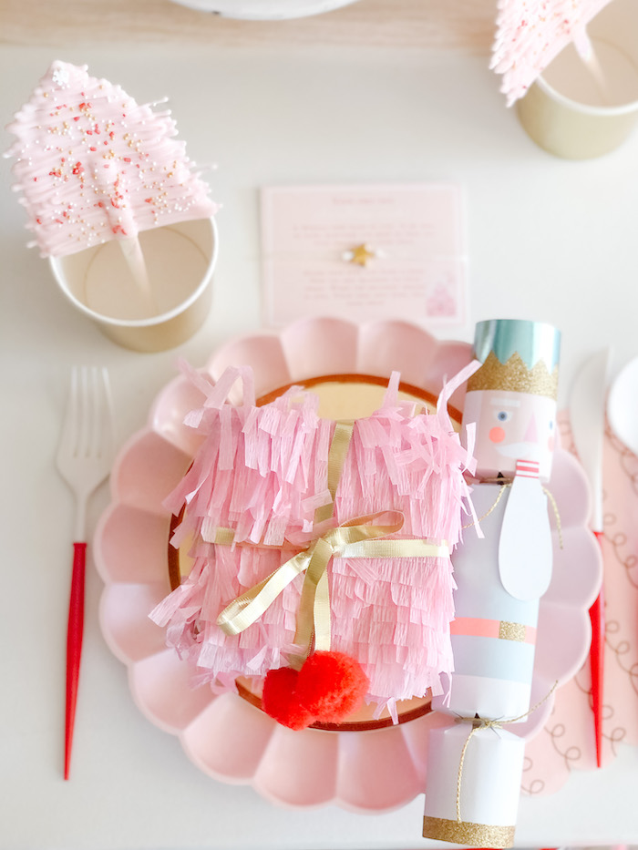 Girly Holiday Table Setting from a Pink Peppermint Christmas Party on Kara's Party Ideas | KarasPartyIdeas.com (17)